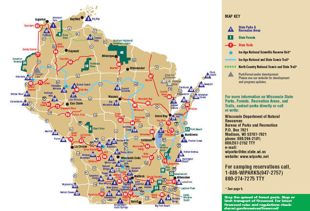 My Wisconsin Space » Map of Wisconsin Parks, Forests, Recreation ...