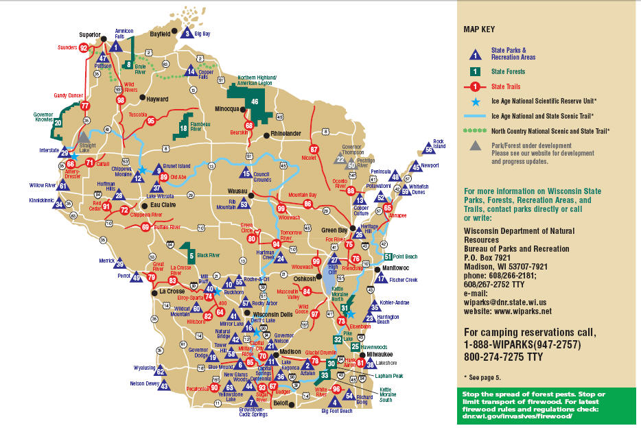 Map Of Wisconsin State Parks My Wisconsin Space » Thematic Map