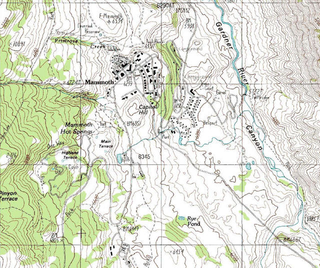 Topographic Map Of Yellowstone.My Wisconsin Space Topographic Map Of Mammoth Hot Springs