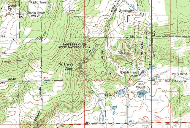 My Wisconsin Space Topographic Map Of Parfrey S Glen State Natural