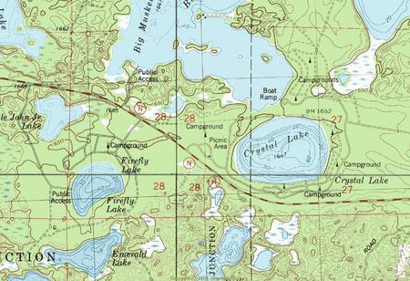 My Wisconsin Space Topographic Map Of The Firefly Lake Area - Map of northern wisconsin lakes
