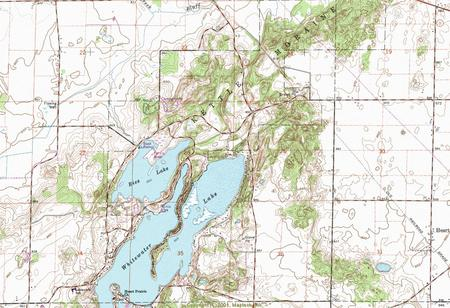 My Wisconsin Space Topographic Map Of The Whitewater And Rice - Wisconsin topographic lake maps