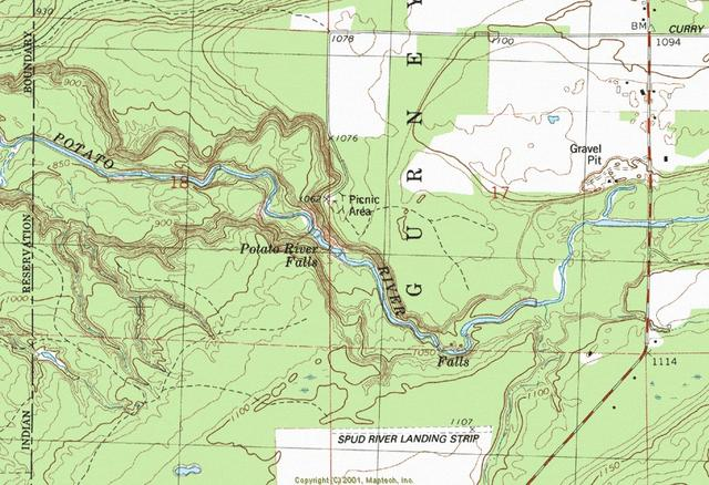 My Wisconsin Space Topographic Map Of Potato River Falls Gurney