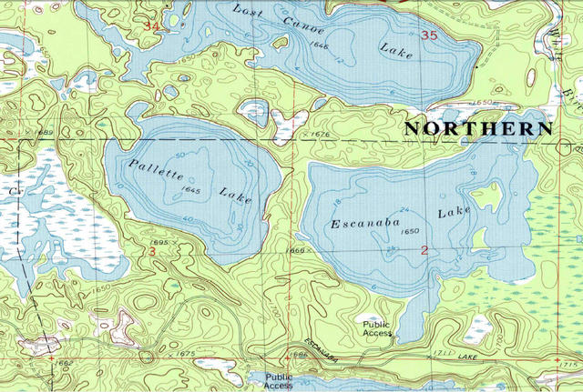 My Wisconsin Space Topographic Map Of Lakes Along The Escanaba - Map of northern wisconsin lakes