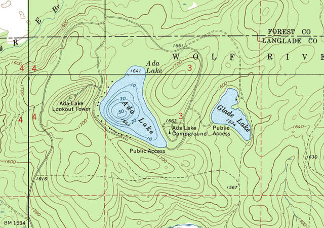 My Wisconsin Space Topographic Map Of Ada Lake Chequamegon