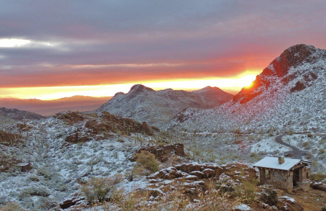 Sunrise after Snowfall at Gates Pass, Tucson Mountain Park - Tucson, AZ