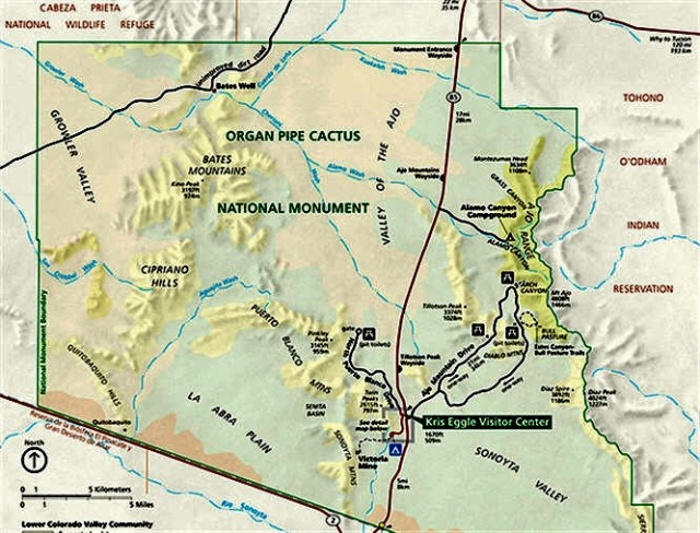 Map of Organ Pipe Cactus National Monument - Ajo, Arizona