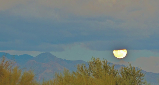 Moon Rising Over the Catalina Mountains - Tucson, Arizona