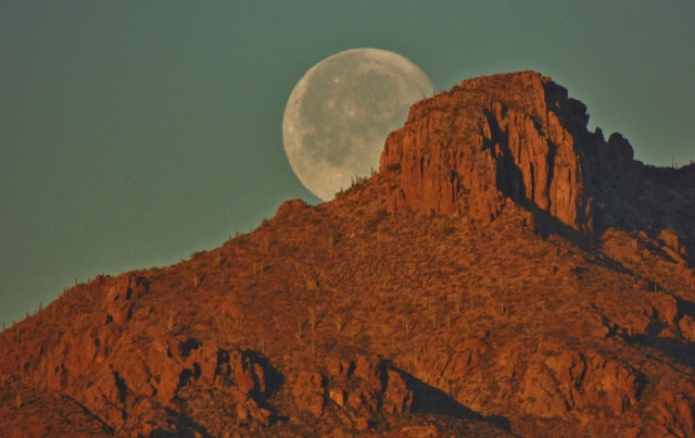 Moon Setting Behind the Tucson Mountains - Tucson, Arizona