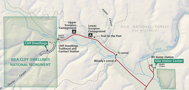 Map of Gila Cliff Dwellings National Monument and Campgrounds - Silver City, New Mexico